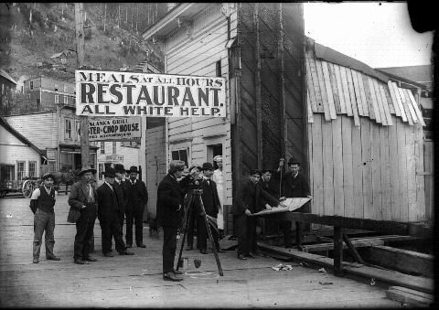 Restaurant in 1908 Juneau advertising that there is no Native staff