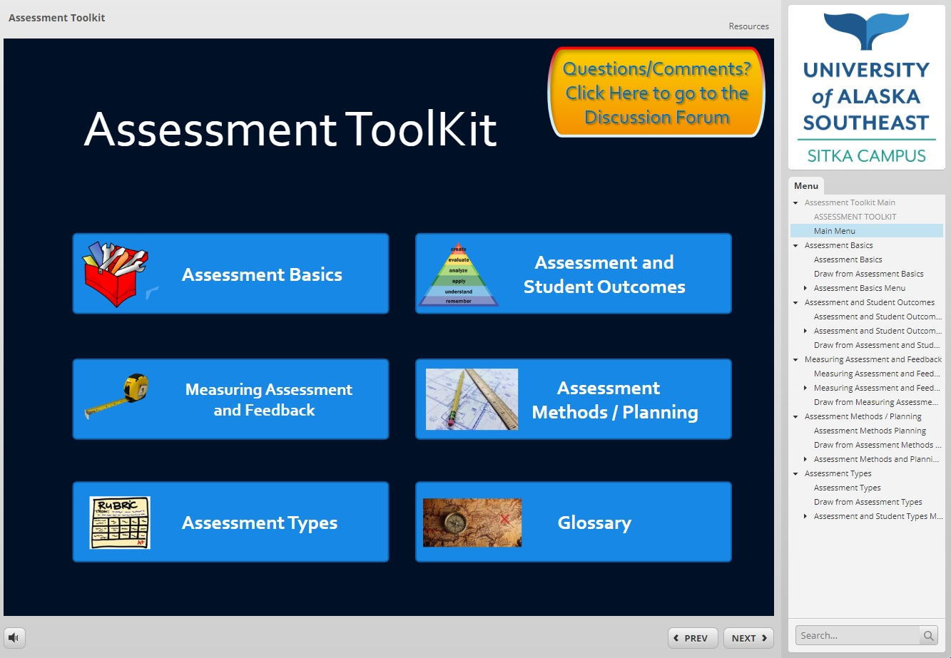 Main Page of the Assessment Toolkit
