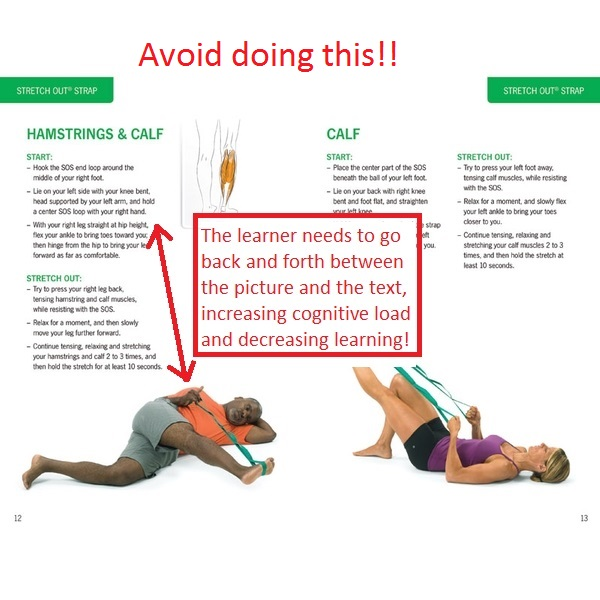 Exercise picture with instructions away from pictures as a bad example.
