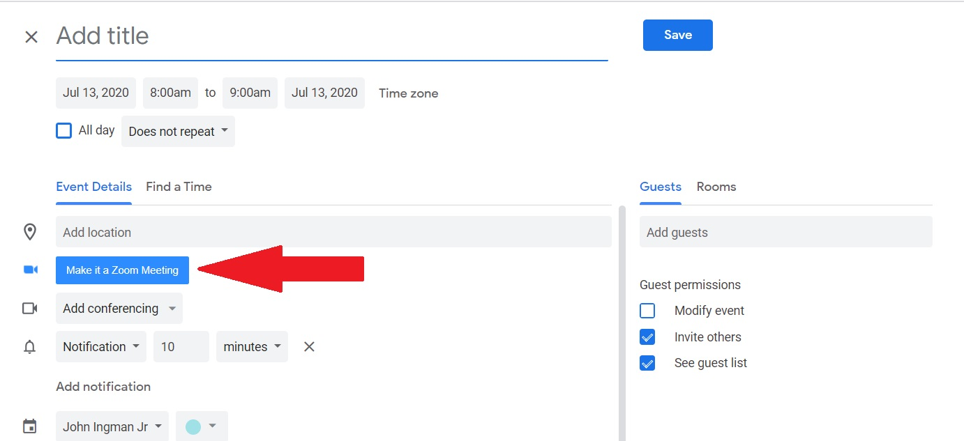 """Google Calendar """"More Options"""" view showing the Make it a Zoom Meeting button."""