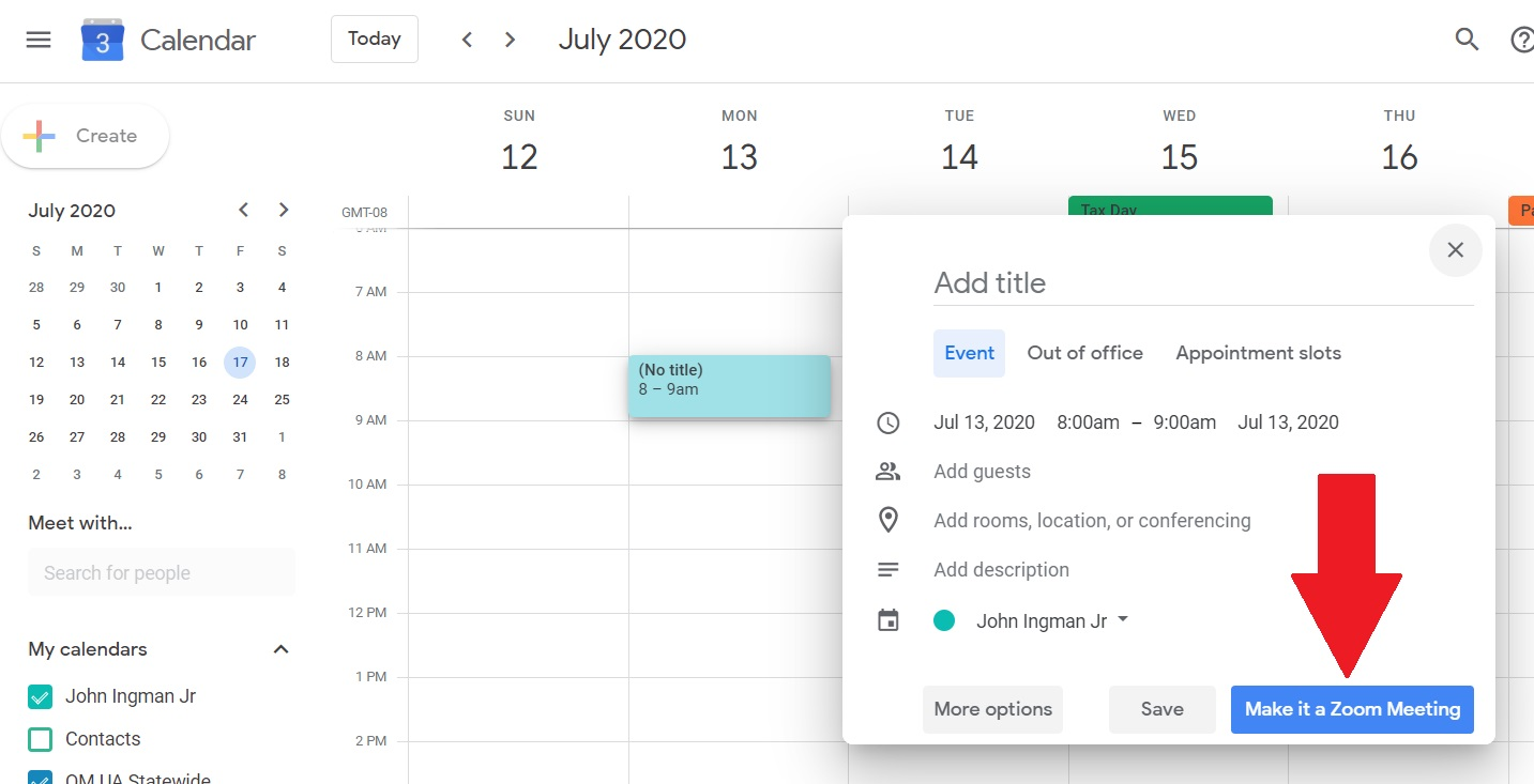 """Google Calendar view of the """"Make it a Zoom Meeting"""" button."""