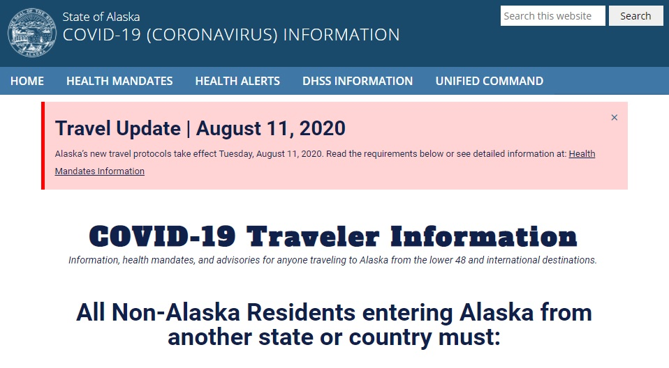 State of Alaska Traveler Information front page of website