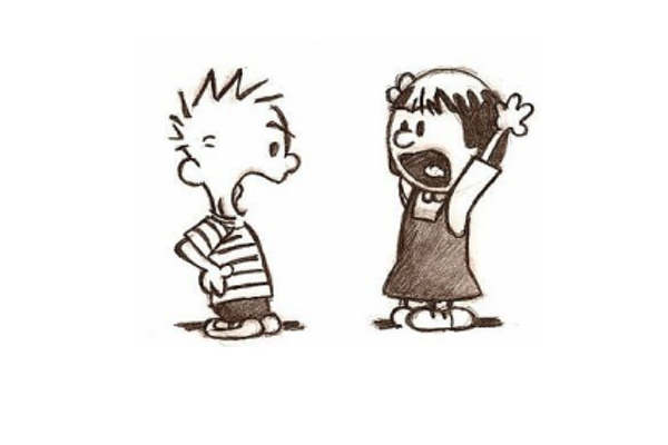 Cartoon of a boy and girl yelling at each other