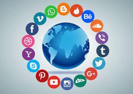 The Globe with Social Media logos around it.